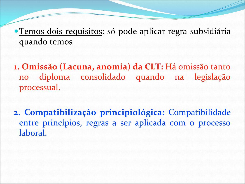 Temos dois requisitos: só pode aplicar regra subsidiária quando temos 1. Omissão (Lacuna, anomia) da CLT: Há omissão tanto no diploma consolidado quan