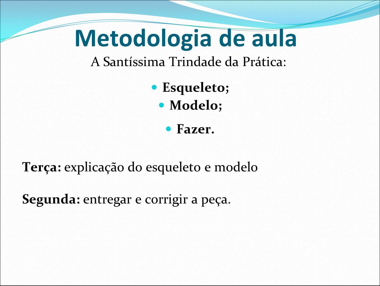 Metodologia de aula A Santíssima Trindade da Prática: Esqueleto; Modelo; Fazer. Terça: explicação do esqueleto e modelo Segunda: entregar e corrigir a