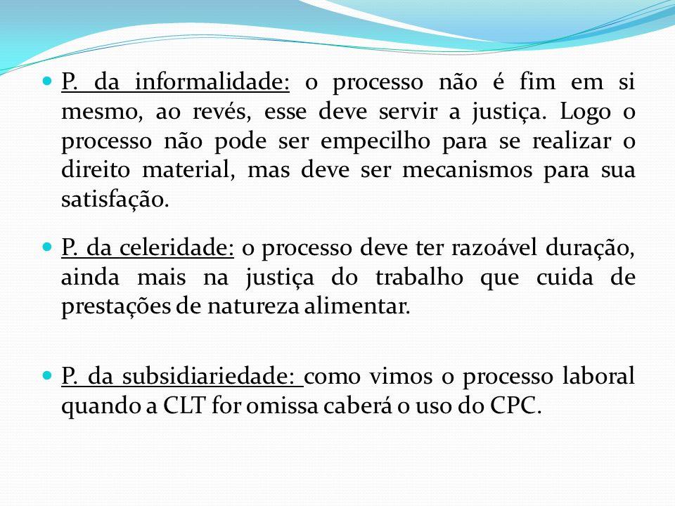 P. da informalidade: o processo não é fim em si mesmo, ao revés, esse deve servir a justiça. Logo o processo não pode ser empecilho para se realizar o