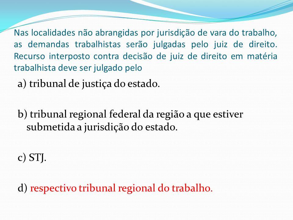 Nas localidades não abrangidas por jurisdição de vara do trabalho, as demandas trabalhistas serão julgadas pelo juiz de direito. Recurso interposto co