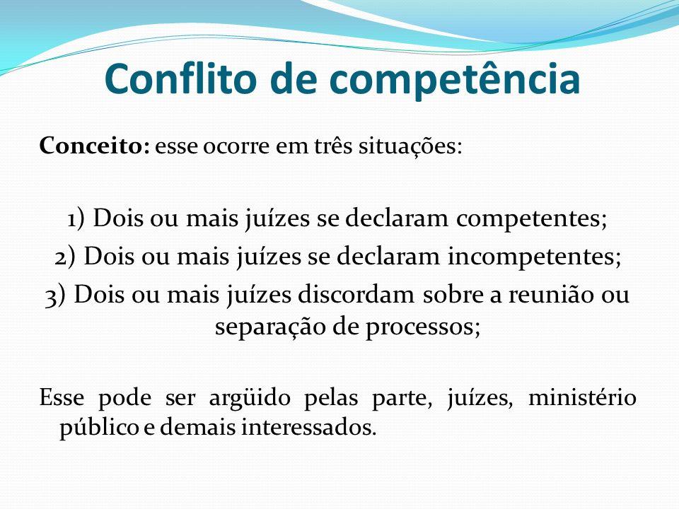 Conflito de competência Conceito: esse ocorre em três situações: 1) Dois ou mais juízes se declaram competentes; 2) Dois ou mais juízes se declaram in