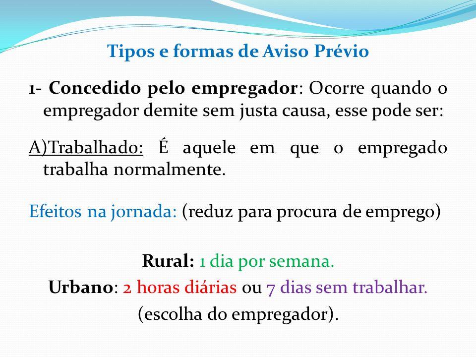 Tipos e formas de Aviso Prévio 1- Concedido pelo empregador: Ocorre quando o empregador demite sem justa causa, esse pode ser: A)Trabalhado: É aquele