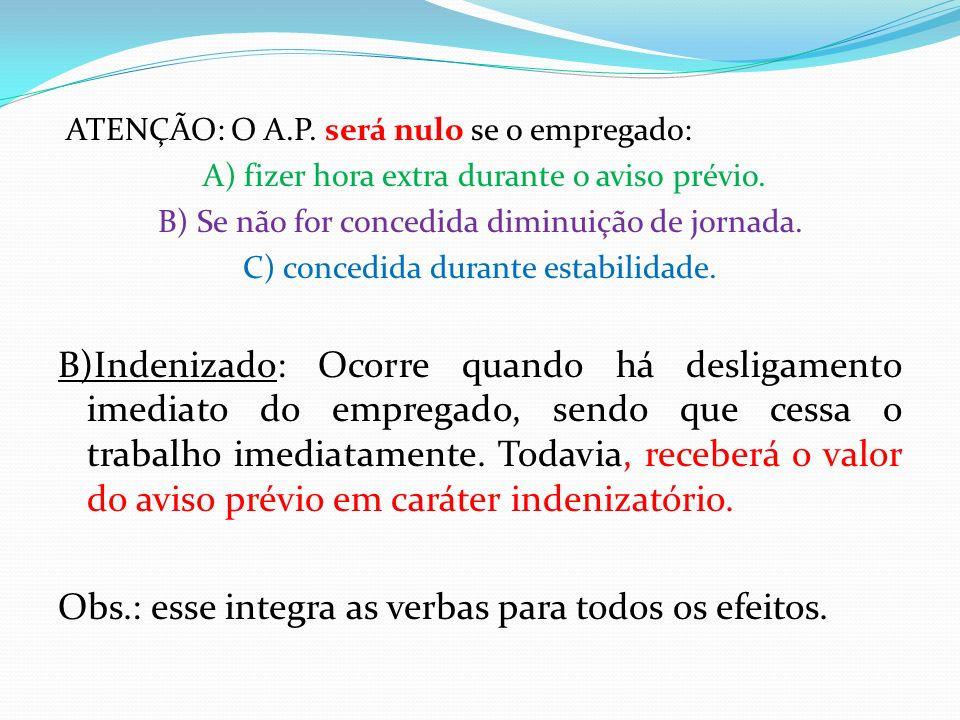 ATENÇÃO: O A.P. será nulo se o empregado: A) fizer hora extra durante o aviso prévio. B) Se não for concedida diminuição de jornada. C) concedida dura