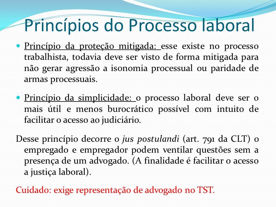 Princípios do Processo laboral Princípio da proteção mitigada: esse existe no processo trabalhista, todavia deve ser visto de forma mitigada para não