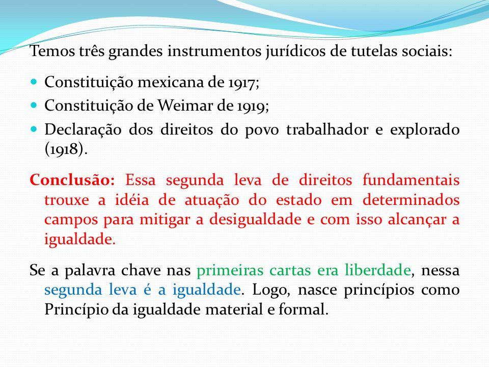 Temos três grandes instrumentos jurídicos de tutelas sociais: Constituição mexicana de 1917; Constituição de Weimar de 1919; Declaração dos direitos d
