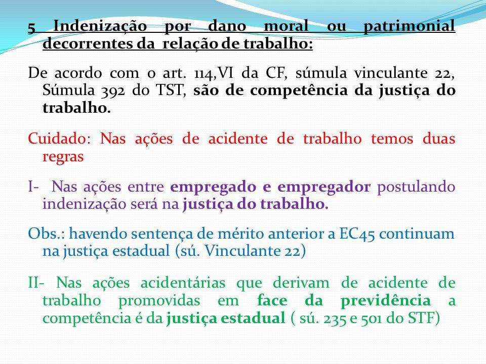 5 Indenização por dano moral ou patrimonial decorrentes da relação de trabalho: De acordo com o art. 114,VI da CF, súmula vinculante 22, Súmula 392 do