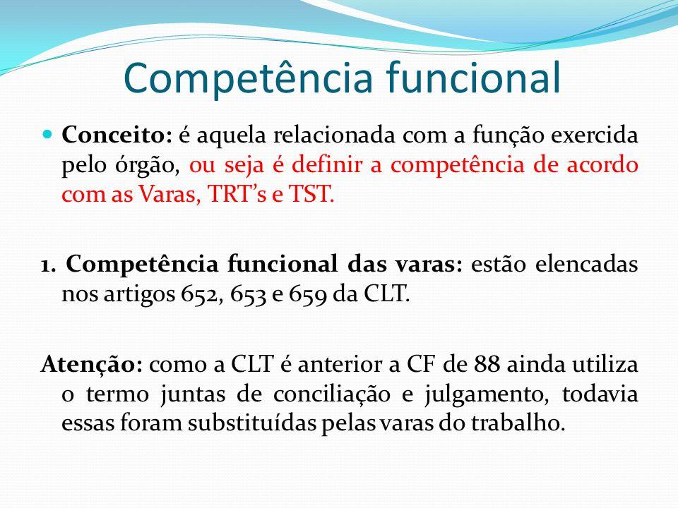 Competência funcional Conceito: é aquela relacionada com a função exercida pelo órgão, ou seja é definir a competência de acordo com as Varas, TRTs e