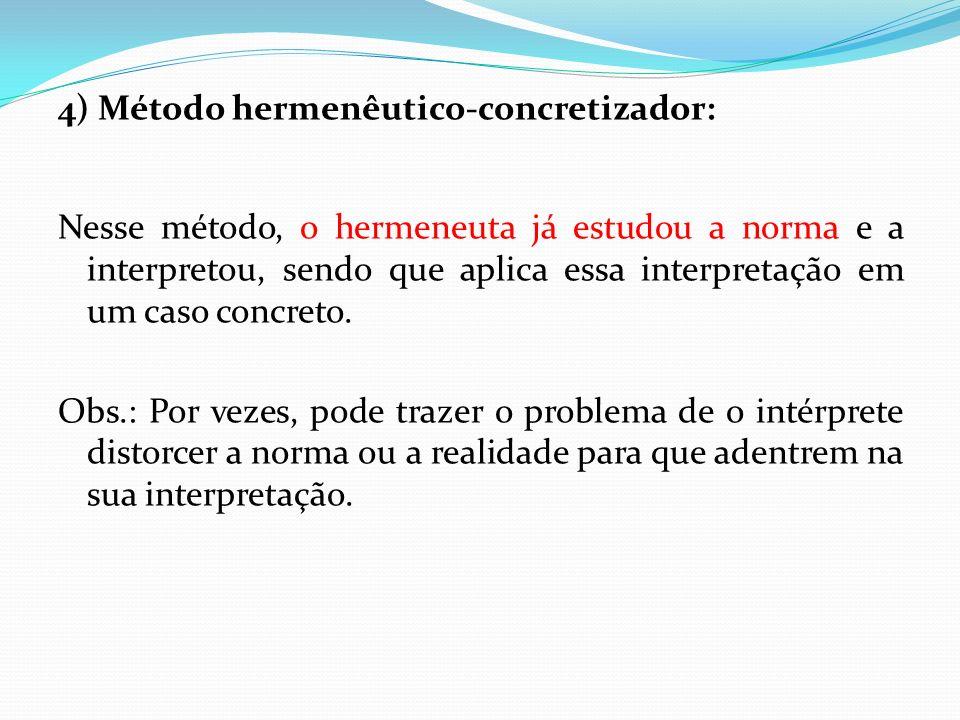 4) Método hermenêutico-concretizador: Nesse método, o hermeneuta já estudou a norma e a interpretou, sendo que aplica essa interpretação em um caso co