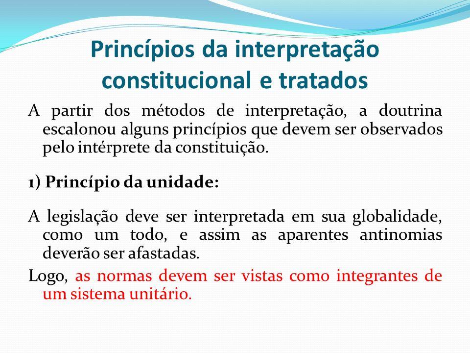Princípios da interpretação constitucional e tratados A partir dos métodos de interpretação, a doutrina escalonou alguns princípios que devem ser obse