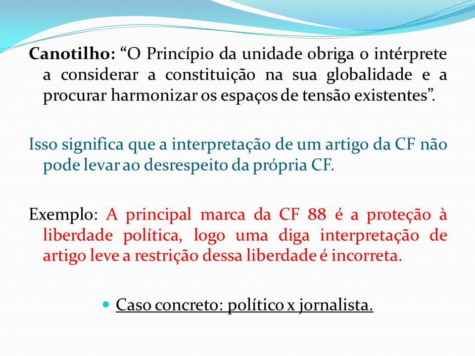 Canotilho: O Princípio da unidade obriga o intérprete a considerar a constituição na sua globalidade e a procurar harmonizar os espaços de tensão exis