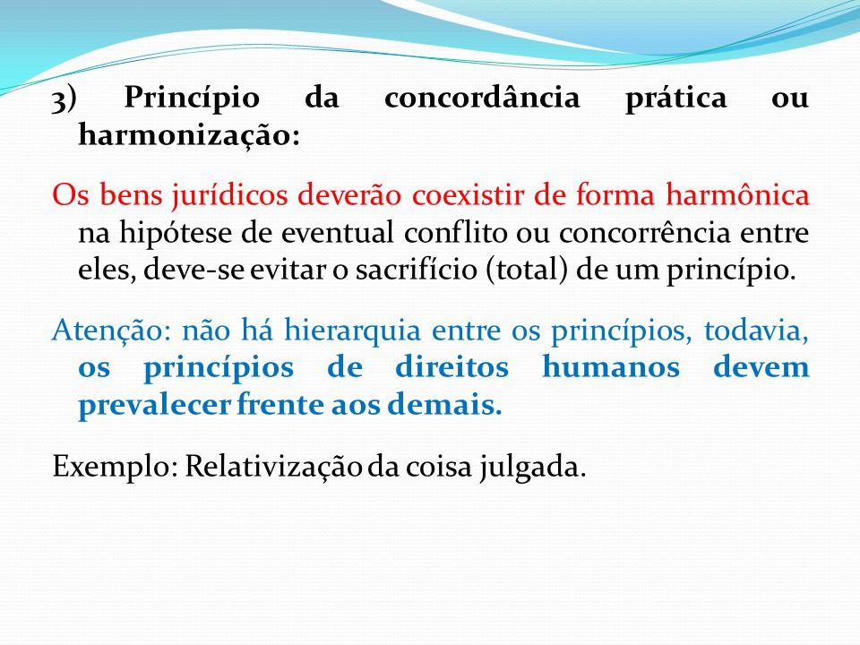 3) Princípio da concordância prática ou harmonização: Os bens jurídicos deverão coexistir de forma harmônica na hipótese de eventual conflito ou conco