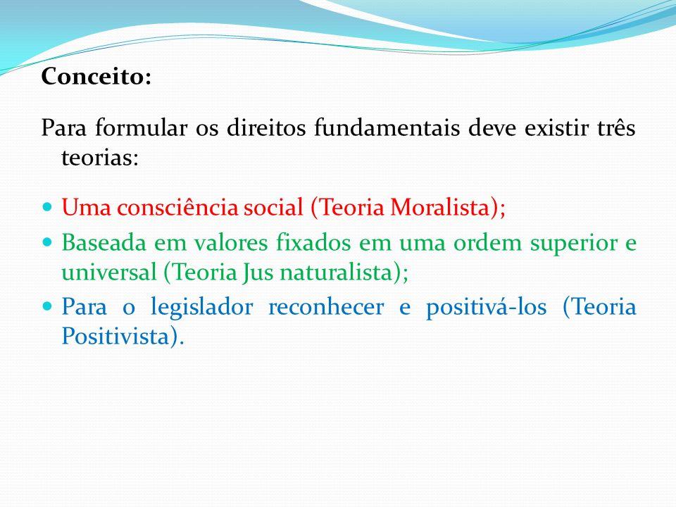 Conceito: Para formular os direitos fundamentais deve existir três teorias: Uma consciência social (Teoria Moralista); Baseada em valores fixados em u