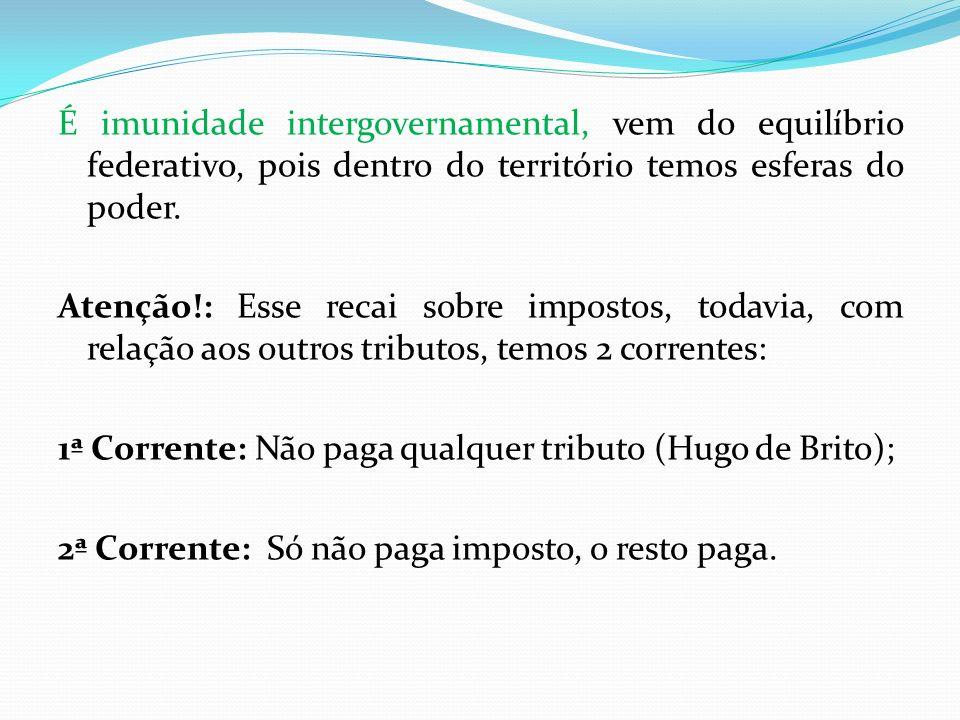 É imunidade intergovernamental, vem do equilíbrio federativo, pois dentro do território temos esferas do poder.