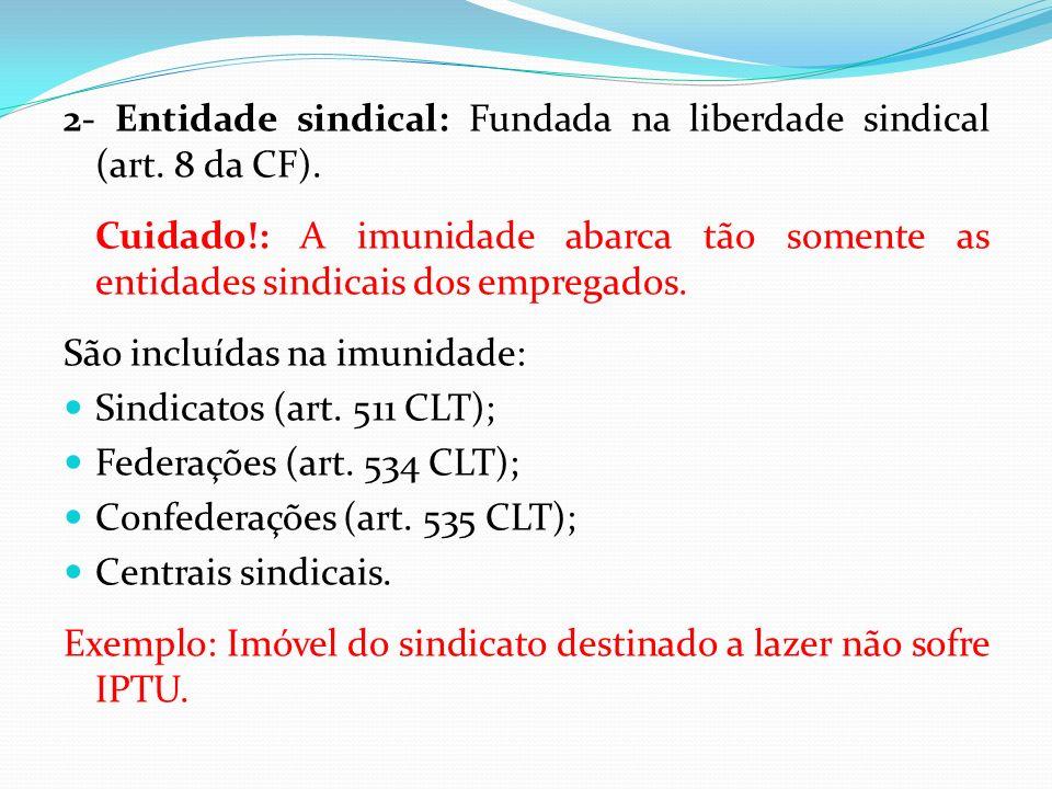 2- Entidade sindical: Fundada na liberdade sindical (art.