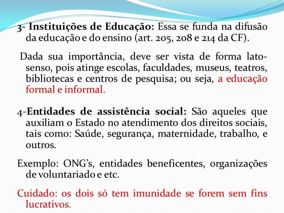 3- Instituições de Educação: Essa se funda na difusão da educação e do ensino (art.