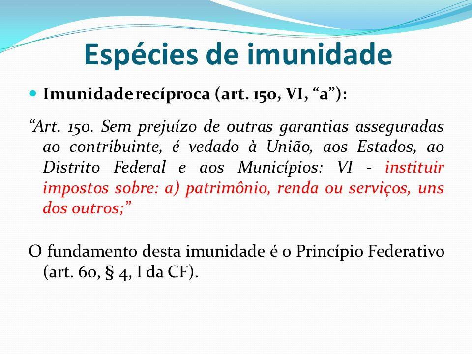 Espécies de imunidade Imunidade recíproca (art.150, VI, a): Art.