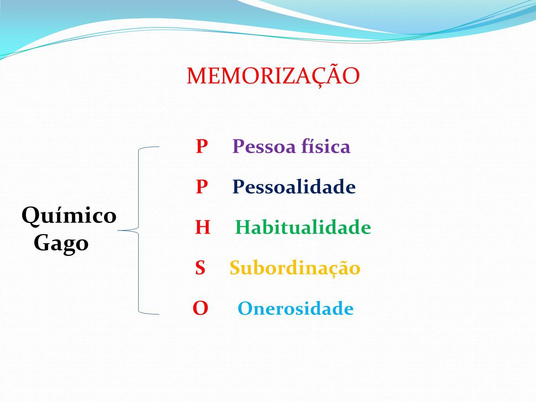 MEMORIZAÇÃO P Pessoa física P Pessoalidade H Habitualidade S Subordinação O Onerosidade Químico Gago