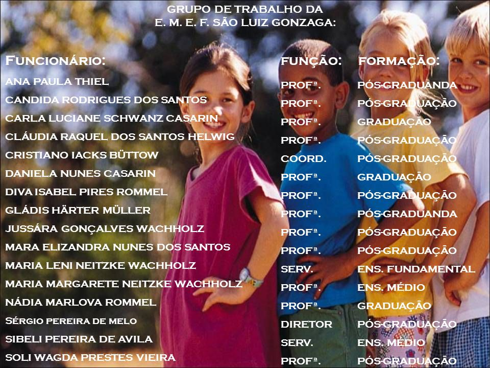 GRUPO DE TRABALHO DA E. M. E. F. SÃO LUIZ GONZAGA: Funcionário: função: formação: ANA PAULA THIEL CANDIDA RODRIGUES DOS SANTOS CARLA LUCIANE SCHWANZ C