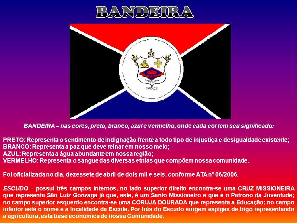BANDEIRA – nas cores, preto, branco, azul e vermelho, onde cada cor tem seu significado: PRETO: Representa o sentimento de indignação frente a todo ti