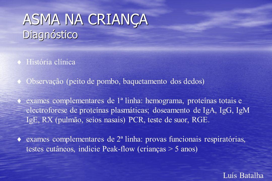 ASMA NA CRIANÇA Diagnóstico Luís Batalha História clínica Observação (peito de pombo, baquetamento dos dedos) exames complementares de 1ª linha: hemog