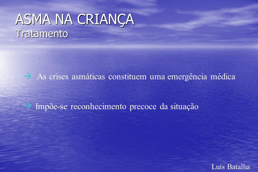 Luís Batalha ASMA NA CRIANÇA Tratamento à As crises asmáticas constituem uma emergência médica àImpõe-se reconhecimento precoce da situação