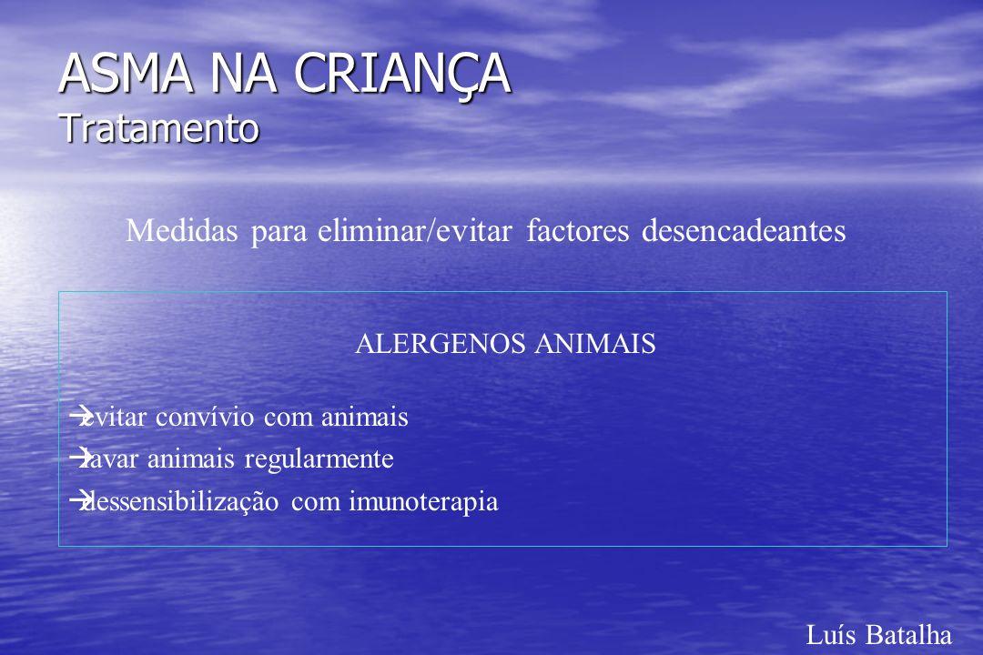Luís Batalha ASMA NA CRIANÇA Tratamento Medidas para eliminar/evitar factores desencadeantes ALERGENOS ANIMAIS àevitar convívio com animais àlavar ani