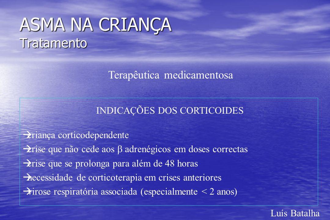 Luís Batalha ASMA NA CRIANÇA Tratamento Terapêutica medicamentosa INDICAÇÕES DOS CORTICOIDES àcriança corticodependente àcrise que não cede aos adrené