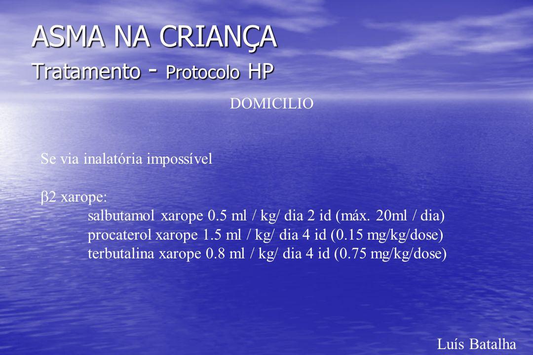 Luís Batalha ASMA NA CRIANÇA Tratamento - Protocolo HP DOMICILIO Se via inalatória impossível 2 xarope: salbutamol xarope 0.5 ml / kg/ dia 2 id (máx.