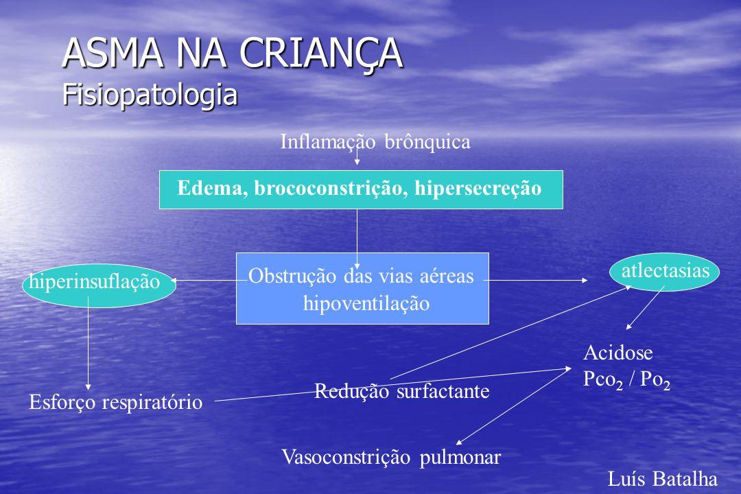 ASMA NA CRIANÇA Fisiopatologia Luís Batalha Inflamação brônquica Edema, brococonstrição, hipersecreção Obstrução das vias aéreas hiperinsuflação Esfor