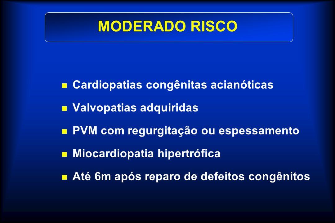 MODERADO RISCO Cardiopatias congênitas acianóticas Valvopatias adquiridas PVM com regurgitação ou espessamento Miocardiopatia hipertrófica Até 6m após