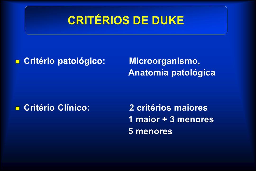 Critério patológico: Microorganismo, Anatomia patológica Critério Clínico: 2 critérios maiores 1 maior + 3 menores 5 menores CRITÉRIOS DE DUKE