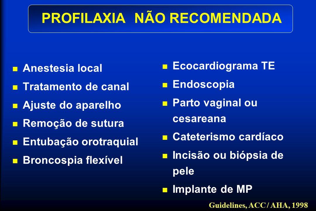 Anestesia local Tratamento de canal Ajuste do aparelho Remoção de sutura Entubação orotraquial Broncospia flexível PROFILAXIA NÃO RECOMENDADA Ecocardi