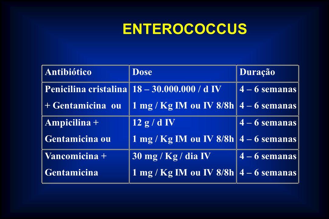 AntibióticoDoseDuração Penicilina cristalina + Gentamicina ou 18 – 30.000.000 / d IV 1 mg / Kg IM ou IV 8/8h 4 – 6 semanas Ampicilina + Gentamicina ou