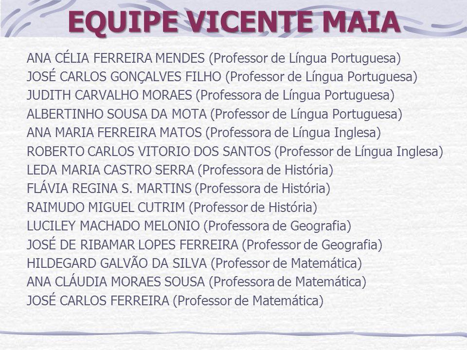 EQUIPE VICENTE MAIA ANA CÉLIA FERREIRA MENDES (Professor de Língua Portuguesa) JOSÉ CARLOS GONÇALVES FILHO (Professor de Língua Portuguesa) JUDITH CAR