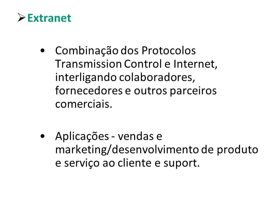 Extranet Combinação dos Protocolos Transmission Control e Internet, interligando colaboradores, fornecedores e outros parceiros comerciais. Aplicações