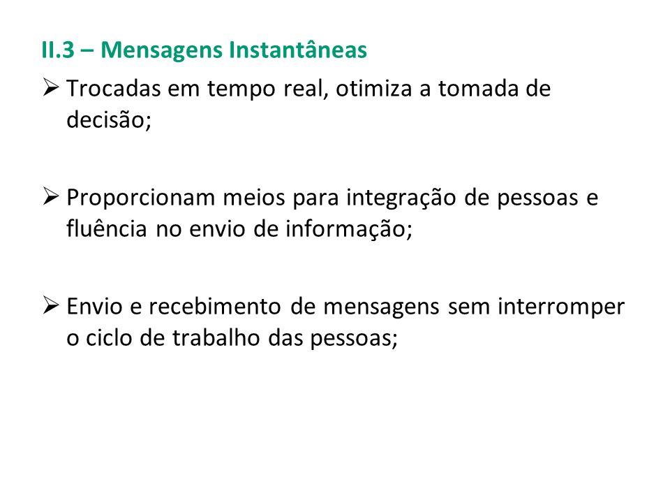 II.3 – Mensagens Instantâneas Trocadas em tempo real, otimiza a tomada de decisão; Proporcionam meios para integração de pessoas e fluência no envio d
