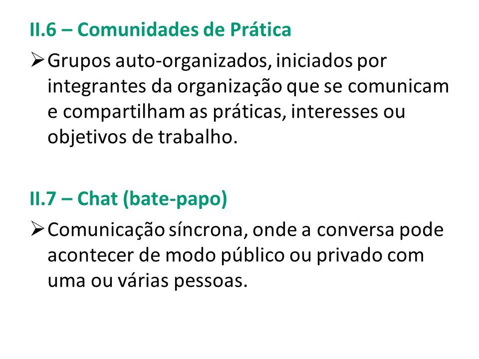 II.6 – Comunidades de Prática Grupos auto-organizados, iniciados por integrantes da organização que se comunicam e compartilham as práticas, interesse