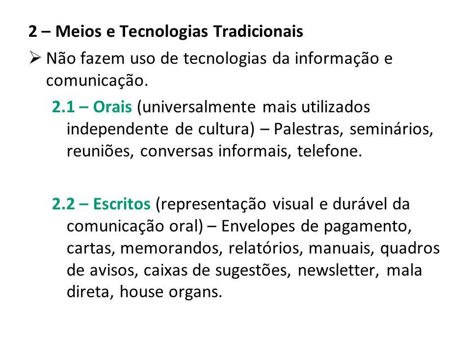 2 – Meios e Tecnologias Tradicionais Não fazem uso de tecnologias da informação e comunicação. 2.1 – Orais (universalmente mais utilizados independent