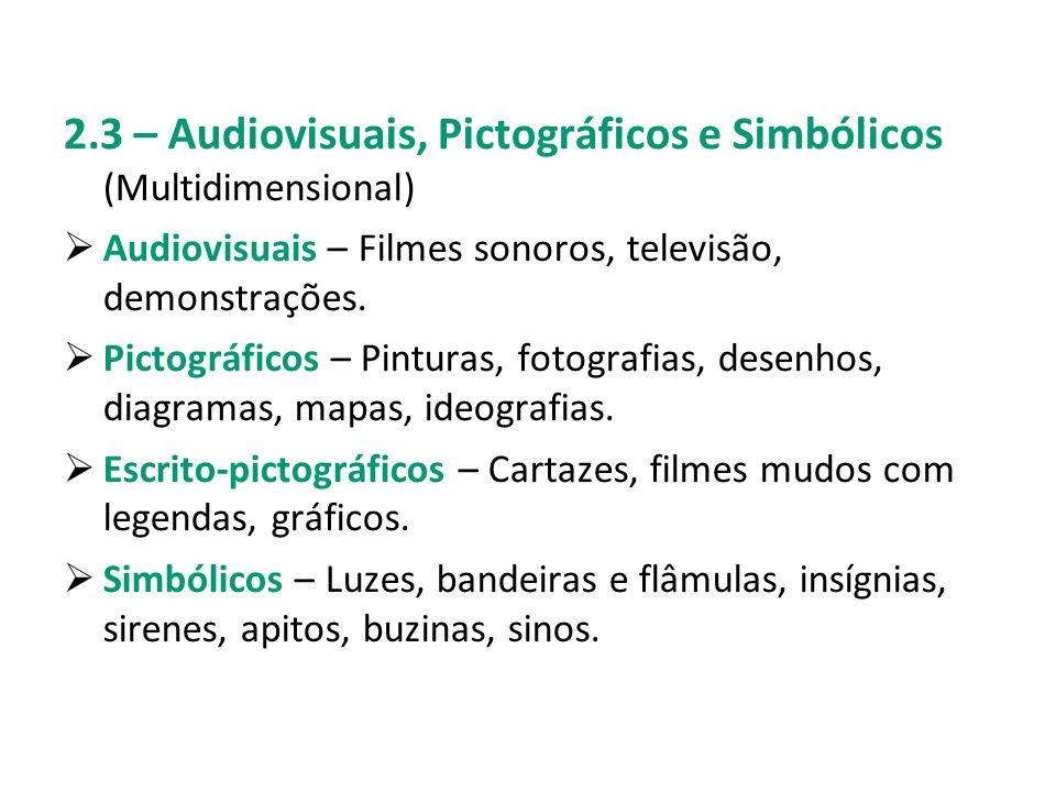 2.3 – Audiovisuais, Pictográficos e Simbólicos (Multidimensional) Audiovisuais – Filmes sonoros, televisão, demonstrações. Pictográficos – Pinturas, f