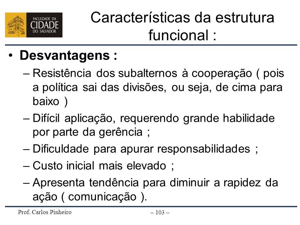 Prof. Carlos Pinheiro – 103 – Características da estrutura funcional : Desvantagens : –Resistência dos subalternos à cooperação ( pois a política sai