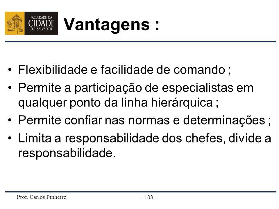 Prof. Carlos Pinheiro – 108 – Vantagens : Flexibilidade e facilidade de comando ; Permite a participação de especialistas em qualquer ponto da linha h