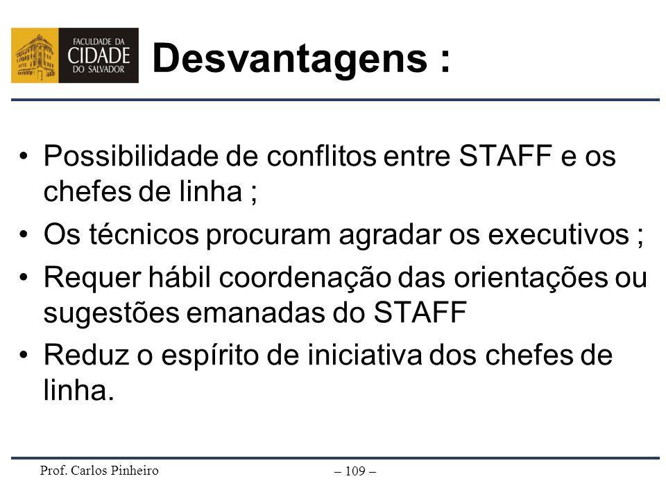 Prof. Carlos Pinheiro – 109 – Desvantagens : Possibilidade de conflitos entre STAFF e os chefes de linha ; Os técnicos procuram agradar os executivos