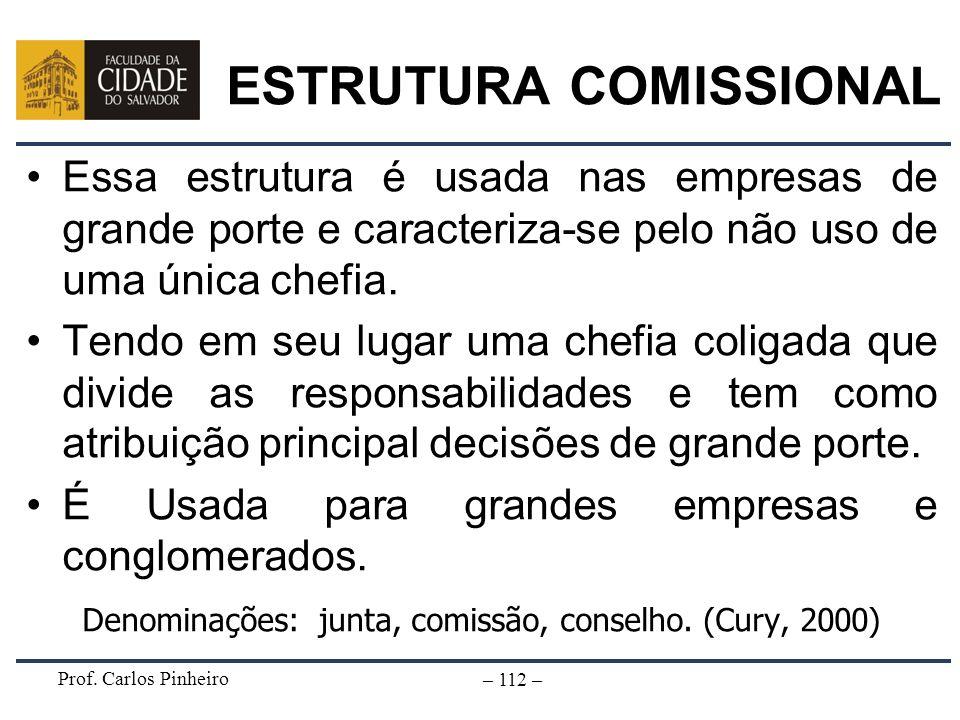 Prof. Carlos Pinheiro – 112 – ESTRUTURA COMISSIONAL Essa estrutura é usada nas empresas de grande porte e caracteriza-se pelo não uso de uma única che