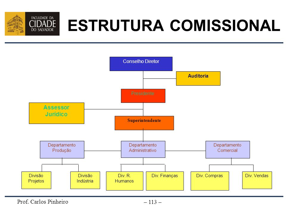 Prof. Carlos Pinheiro – 113 – Divisão Projetos Conselho Diretor Presidente Auditoria Assessor Jurídico Superintendente Departamento Administrativo Dep