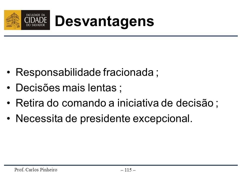 Prof. Carlos Pinheiro – 115 – Desvantagens Responsabilidade fracionada ; Decisões mais lentas ; Retira do comando a iniciativa de decisão ; Necessita