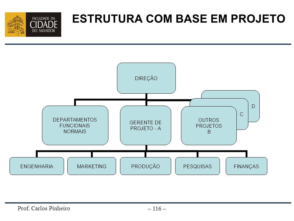 Prof. Carlos Pinheiro – 116 – ESTRUTURA COM BASE EM PROJETO DIREÇÃO DEPARTAMENTOS FUNCIONAIS NORMAIS GERENTE DE PROJETO - A PRODUÇÃOFINANÇASENGENHARIA