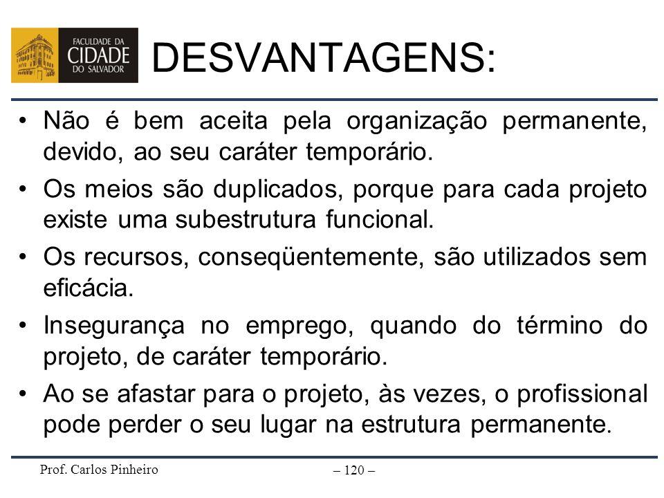 Prof. Carlos Pinheiro – 120 – DESVANTAGENS: Não é bem aceita pela organização permanente, devido, ao seu caráter temporário. Os meios são duplicados,