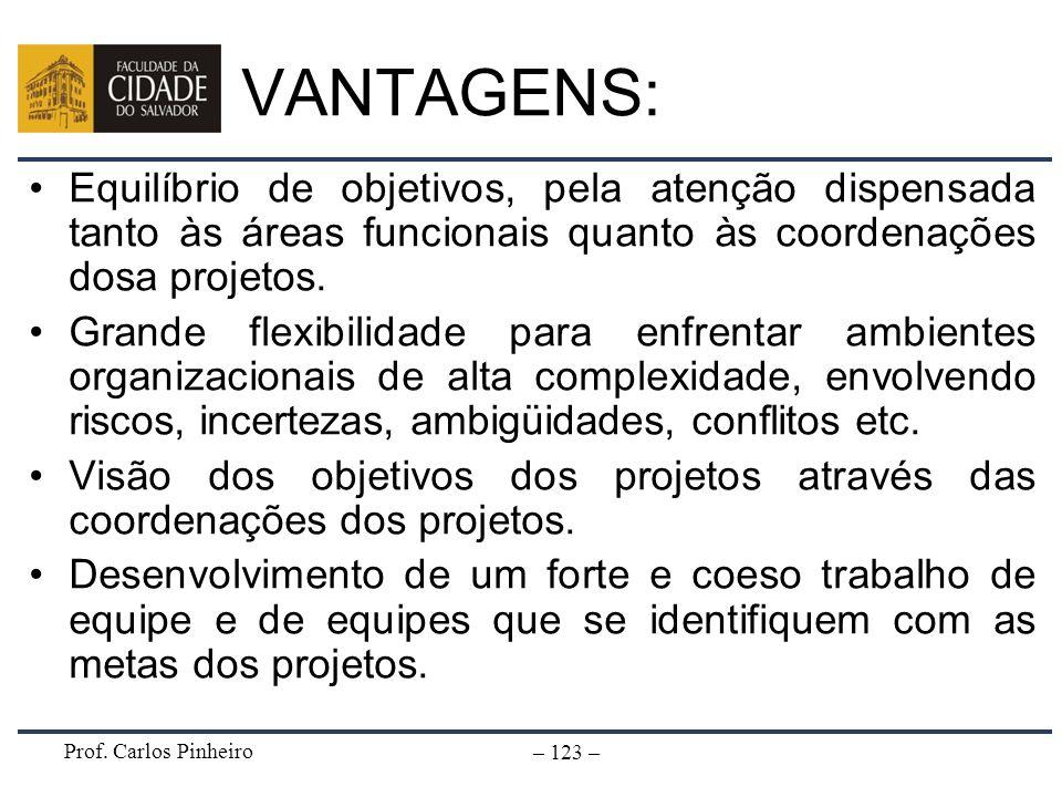 Prof. Carlos Pinheiro – 123 – VANTAGENS: Equilíbrio de objetivos, pela atenção dispensada tanto às áreas funcionais quanto às coordenações dosa projet