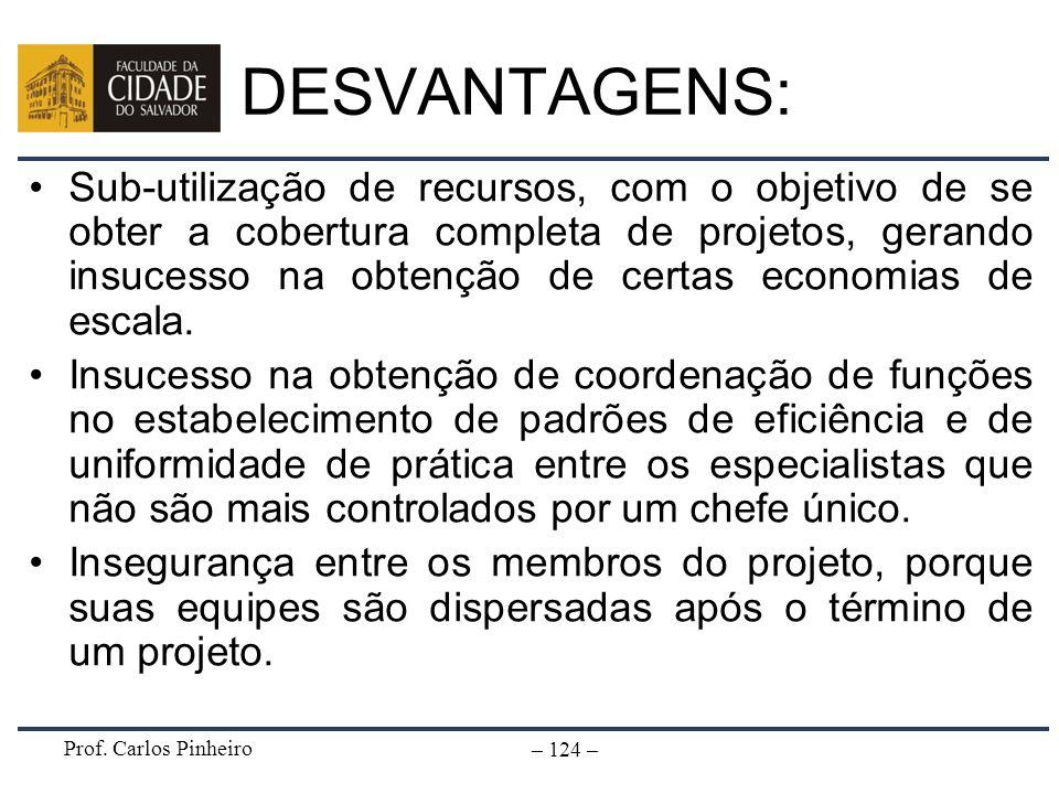 Prof. Carlos Pinheiro – 124 – DESVANTAGENS: Sub-utilização de recursos, com o objetivo de se obter a cobertura completa de projetos, gerando insucesso