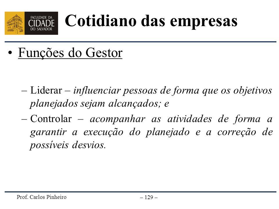 Prof. Carlos Pinheiro – 129 – Cotidiano das empresas Funções do Gestor –Liderar – influenciar pessoas de forma que os objetivos planejados sejam alcan